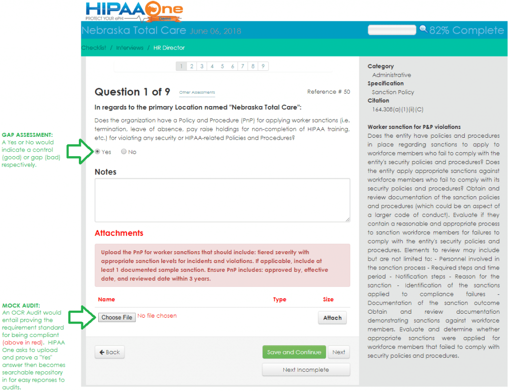 HIPAA Gap Assessment IN HIPAA One