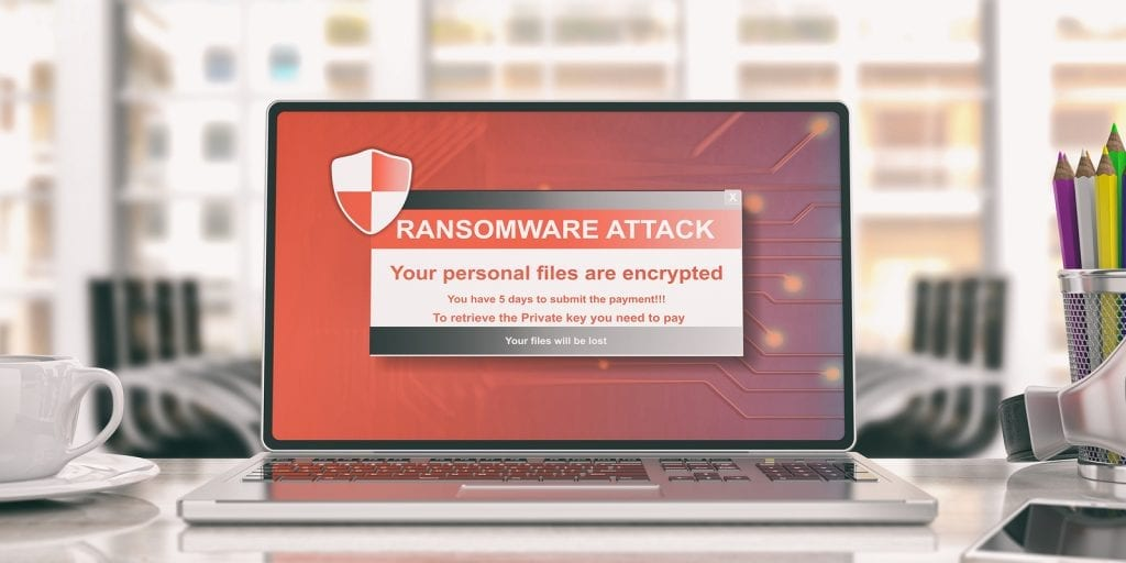 Ransomware Alert on laptop computer