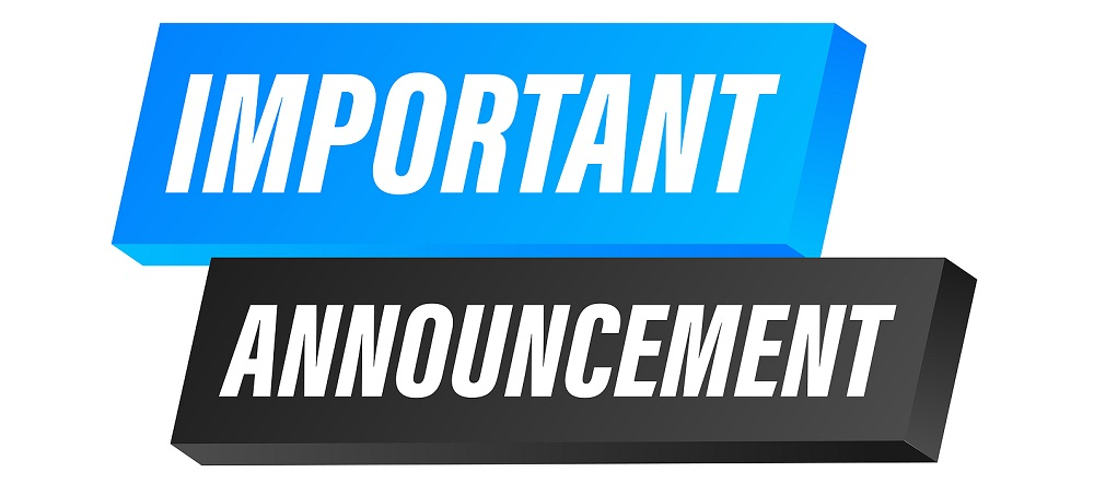 Banner with important announcement. Blue important announcement sign icon. Exclamation danger sign. Alert icon. Vector stock illustration.