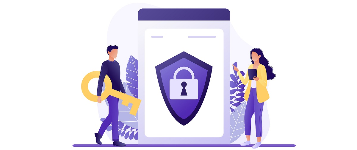 Online security - people protecting computer data. Data protection concept for web page, banner, presentation, social media. Network security, data security, privacy concept. Flat concept vector illustration.